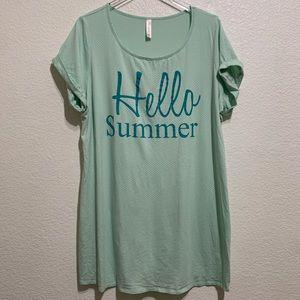 "Cacique ""Hello Summer"" Cotton Sleep Shirt in Mint"